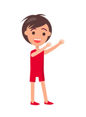 Boy Wearing Red T-shirt and Shorts Vector