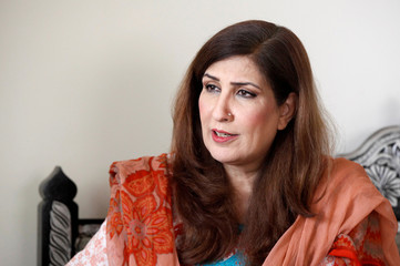 Syeda Shehla Raza, nominated candidate of PPP for the National Assembly seat from Karachi, speaks during an interview with Reuters at her residence in Karachi