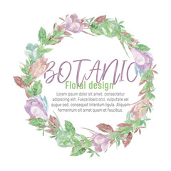 Beautiful wreath. Elegant floral collection with isolated blue,pink leaves and flowers, hand drawn watercolor.