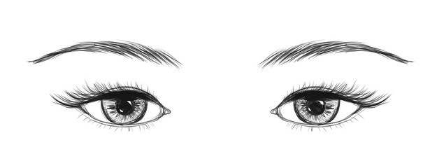 Eyes made in hand drawn technique. Vector illustration.