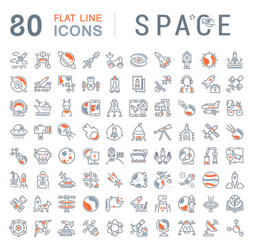 Set Vector Line Icons of Space.