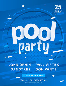 Pool summer party invitation banner flyer design. Water Pool party template poster