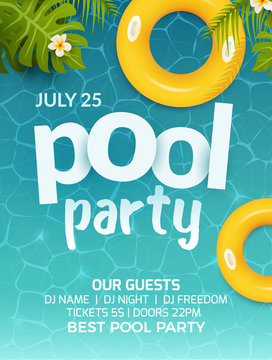 Pool summer party invitation banner flyer design. Water and palm inflatable yellow mattress. Pool party template poster