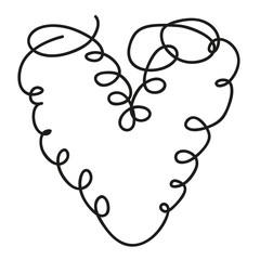 Herz aus einer Linie, Tattoo, Zeichnung, Symbol
