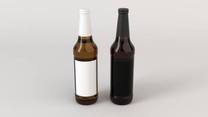 Mock up of two beer bottles with blank labels