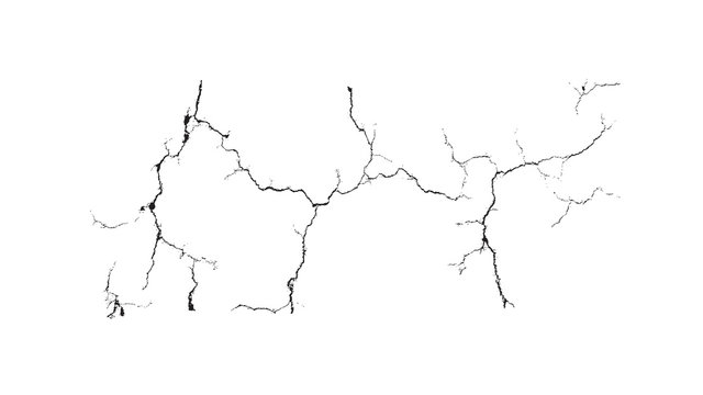 Black crack over white background