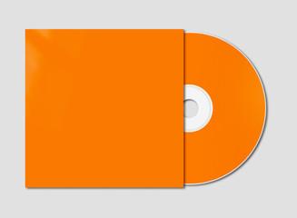 Orange CD - DVD mockup template isolated on Grey