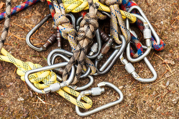 Ropes with carabiners for insurance
