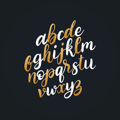 Vector hand lettering alphabet.Calligraphy font letters on black background.