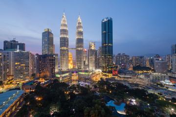 Top view of Kuala Lumpur skyline at dawn