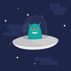 unknown flying object alien vector illustration