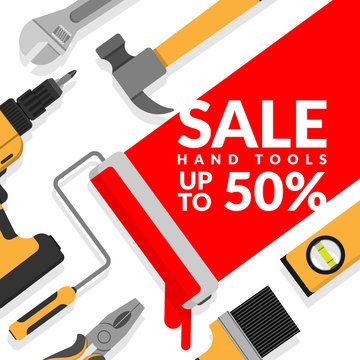 home repair tools set isolated on white background with paint roller painting red color with text hand tools sale up to 50% for hardware store discount promotion and marketing