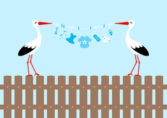 2 Storks On Fence Holding Clothes Line Baby Symbols Boy