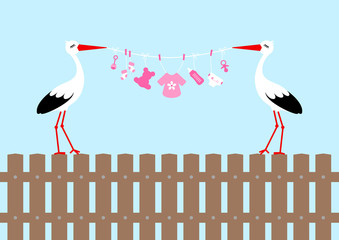 2 Storks On Fence Holding Clothes Line Baby Symbols Girl