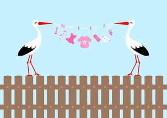 2 Storks On Fence Holding Clothes Line Baby Symbols Girl