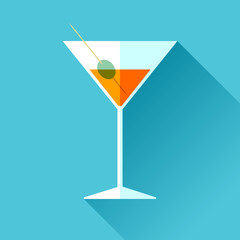 Glass for vermouth icon in flat style, wineglass on color background. Alcohol cocktail. Vector design elements for you business project