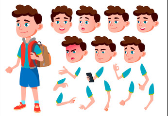 Boy, Child, Kid, Teen Vector. Friend. Clever Positive Person. Face Emotions, Various Gestures. Animation Creation Set. Isolated Flat Cartoon Character Illustration