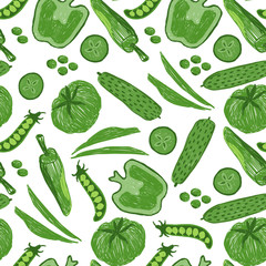 Hand drawn sketch illustration of green fruits and vegetables. Food objects and  elements for your design.