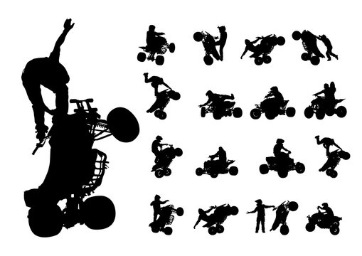 Athletes ATV during races on white background