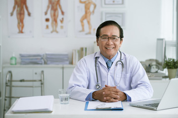 Confident chief physician