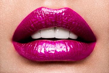 Sexy Lips. Beauty Pink Lips Makeup Detail. Beautiful Make-up Closeup. Sensual Open Mouth. lipstick or Lipgloss