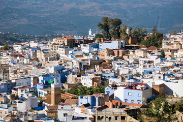Aerial view of Chefchaouen, the Blue city, in Morocco