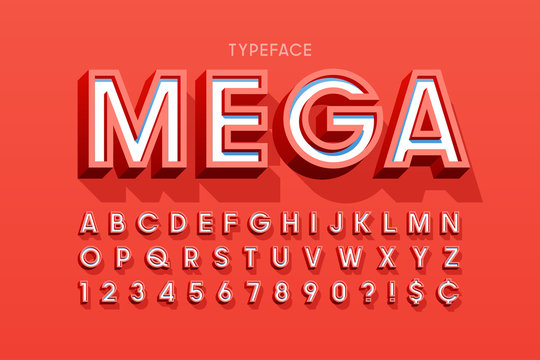 Stylish 3d display font design, alphabet, letters and numbers
