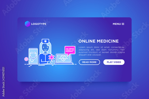Online medicine concept: doctor consulting by video call