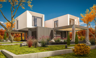 d rendering of modern cozy house in the garden with garage for sale or rent with beautiful trees on background. Clear sunny autumn day with cloudless sky.