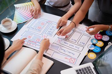 Designers working on website design