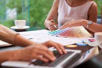 Designers choosing color scheme