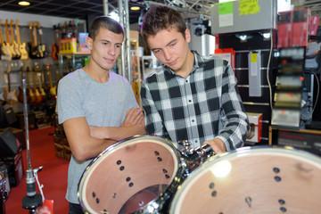 drum kit in music shop