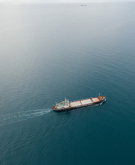 View from the top down by cargo ship passing by, Black Sea, Crimea