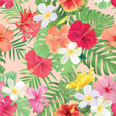 Seamless pattern of hibiscus flowers and tropical leaves background. Vector set of exotic tropical garden for holiday invitations, greeting card and fashion design.