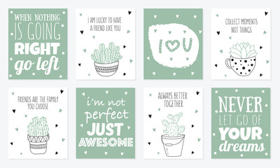 Vector set of postcards with line drawing house plant in pot with slogan about friend