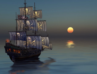 Pirate Ship Sailing into the Sunset