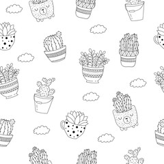 Vector seamless pattern with line drawing house plant in flowerpot