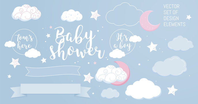 Cute design elements for baby shower invotation and party.