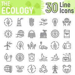 Ecology line icon set, green energy symbols collection, vector sketches, logo illustrations, web eco signs linear pictograms package isolated on white background, eps 10.