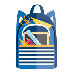 Backpack with school supplies. Back to school vector icon.