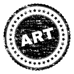 ART stamp seal watermark with distress style. Black vector rubber print of ART text with grunge texture. Rubber seal imitation has round shape and contains stars.