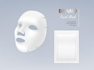 Realistic vector white sheet facial cosmetic mask isolated on background. Skincare, cosmetic beauty product for face treatment, anti-aging, cleansing, moisturising complex. Mockup for package design