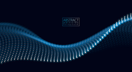 Flowing particles wave, dynamic sound motion. 3d vector illustration. Beautiful wave shaped array of glowing dots.