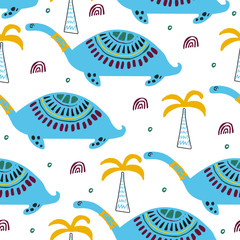 Pattern with dino,dinosaur. Wild exotic animal. Hand drawn illustration for kids,nursery. Childish pattern for textile,fabric,apparel or posters.