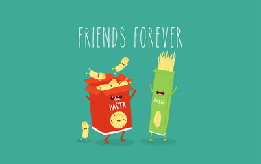 These are funny packs of pasta. Vector illustration. You can use for cards, fridge magnets, stickers, posters or restaurant menu.