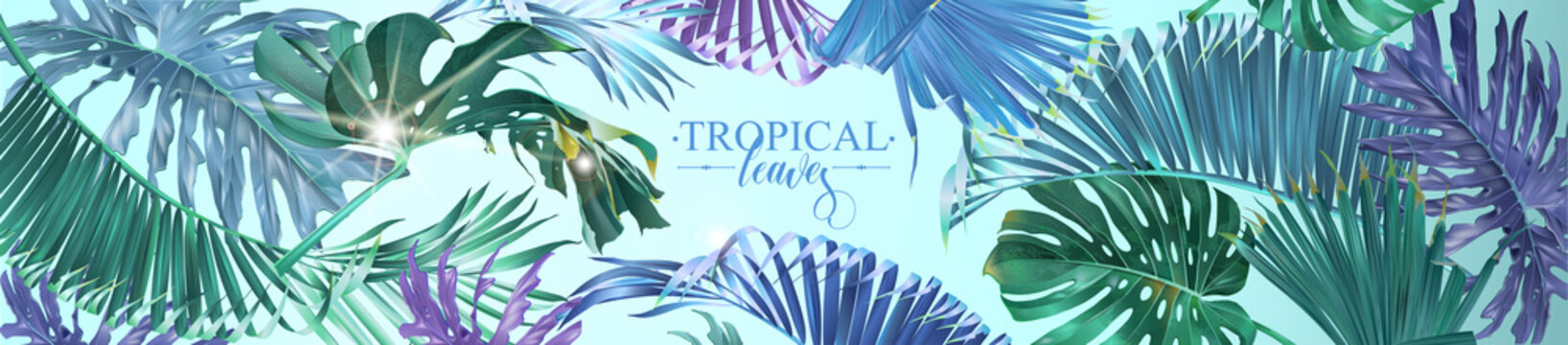 Vector horizontal tropical leaves banner on light blue background. Exotic botanical design for cosmetics, spa, perfume, health care products, aroma, wedding invitation. Best as web banner