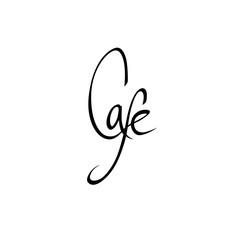 """""""Cafe"""" inscription isolated on a white background. Drawn calligraphy element."""