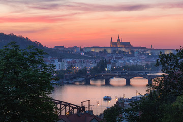 Sunset view of Vltava River and bridges from Vysehrad Hill in the romantic city of Prague, Czech Republic