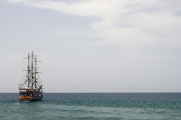 Boat cruise on Meditarean sea in Turkey