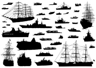 Silhouette of retro ship on white background